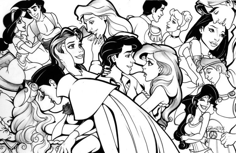 Disney Princesses Coloring Pages With Princes
