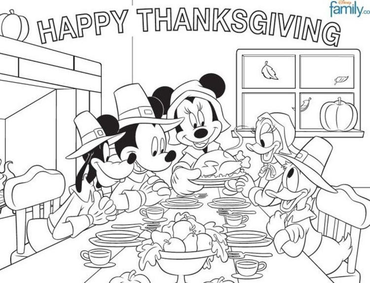 Disney Thanksgiving Coloring Page For Kids