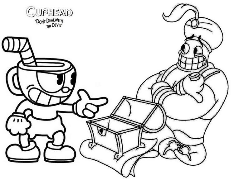 Djimmi The Great And Mugman Cuphead Coloring Page