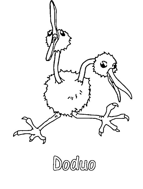 Doduo Pokemon Coloring Page