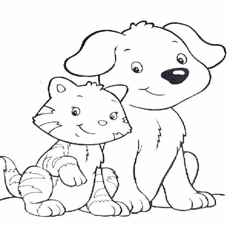 Dog And Cat Coloring Pages To Print Out
