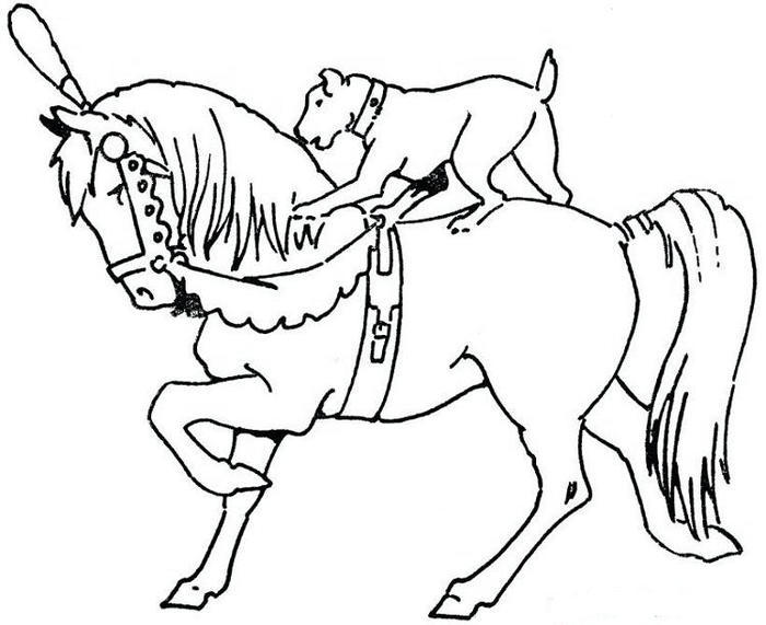 Dog And Horse Coloring Pages