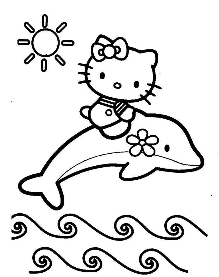 Dolphin Coloring Pages And Hello Kitty