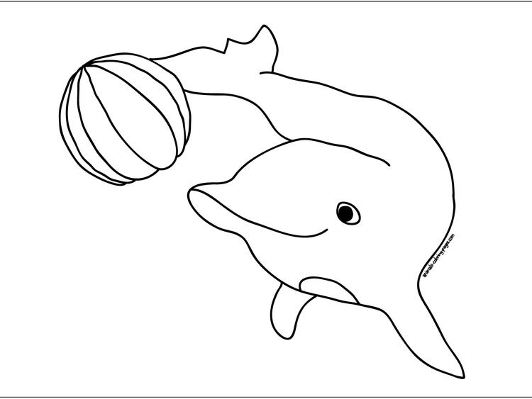 Dolphin Play Ball Coloring Pages