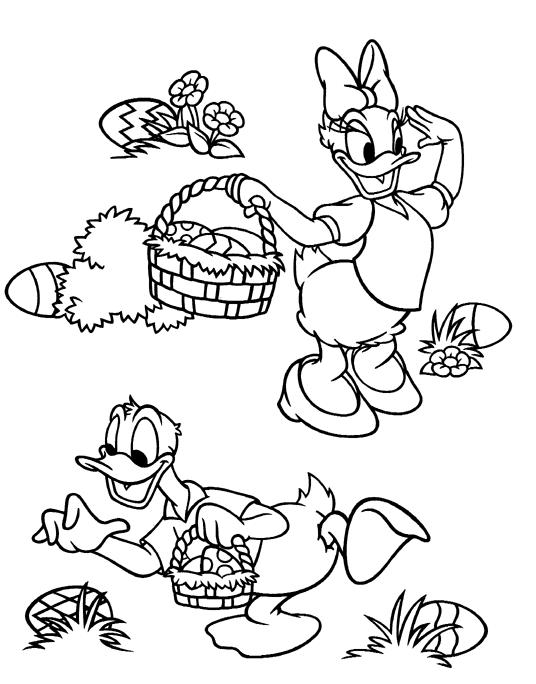 Donald And Daisy Collecting Easter Egg Disney Easter Coloring Pages