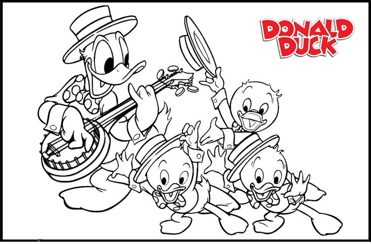 Donald Duck And Her Nephiews Coloring Pages