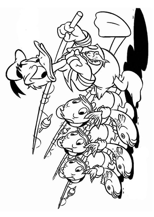 Donald Duck Coloring Pages Fishing