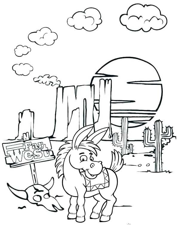 Donkey Animal Desert Cactus Landscape Coloring Pages