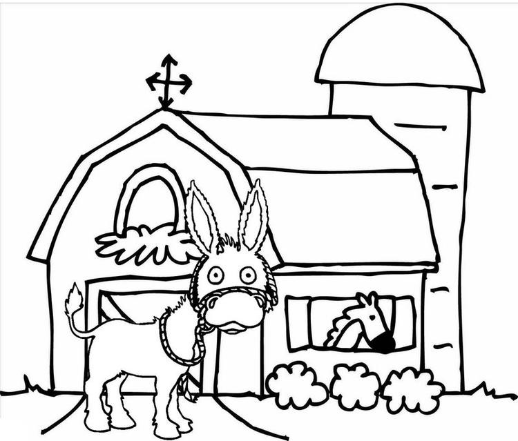 Donkey In The Front Of Barn Coloring Page Printable