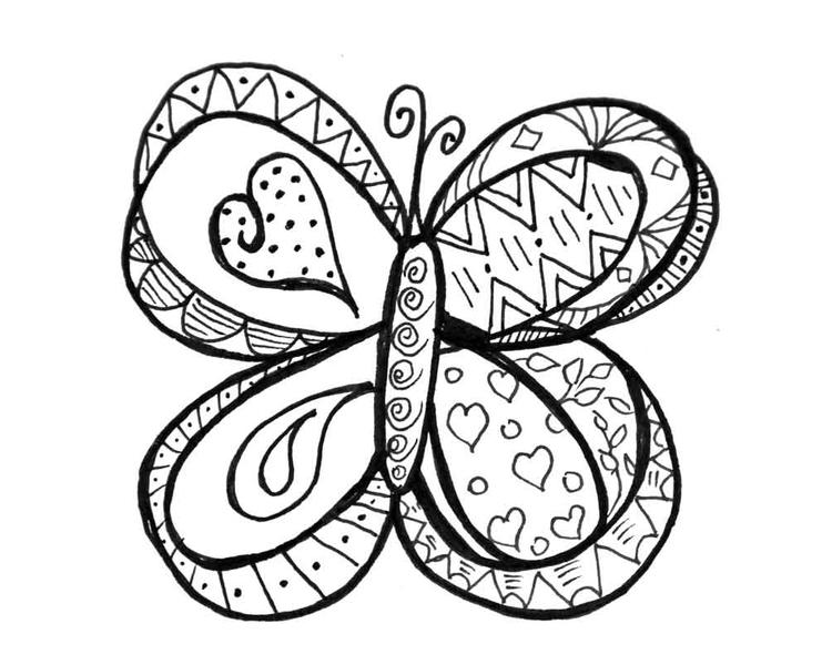 Doodle Coloring Pages Butterfly