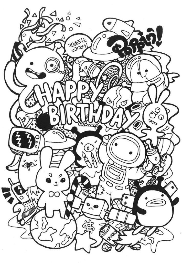 Doodle Coloring Pages Happy Birthday