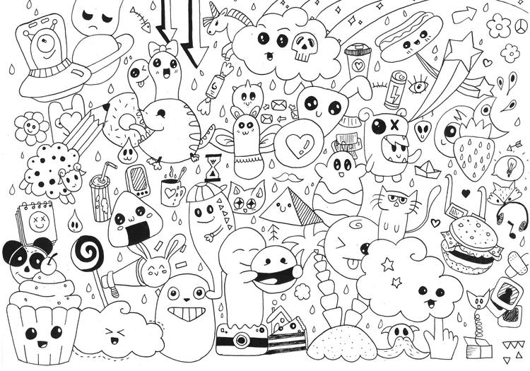 Doodle Coloring Pages Kawaii