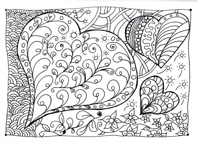 Doodle Coloring Pages Love Hearts
