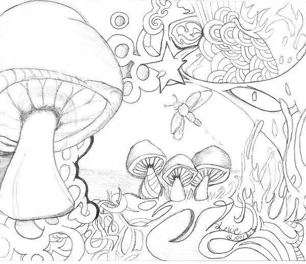 Doodle Mushrooms Coloring Pages