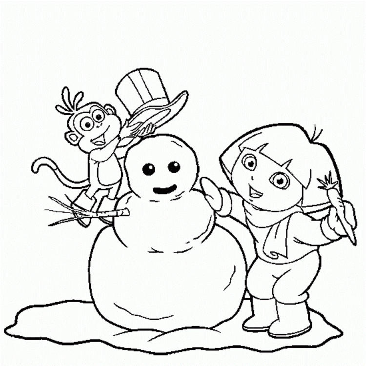 Dora And Boots Coloring Pages Winter