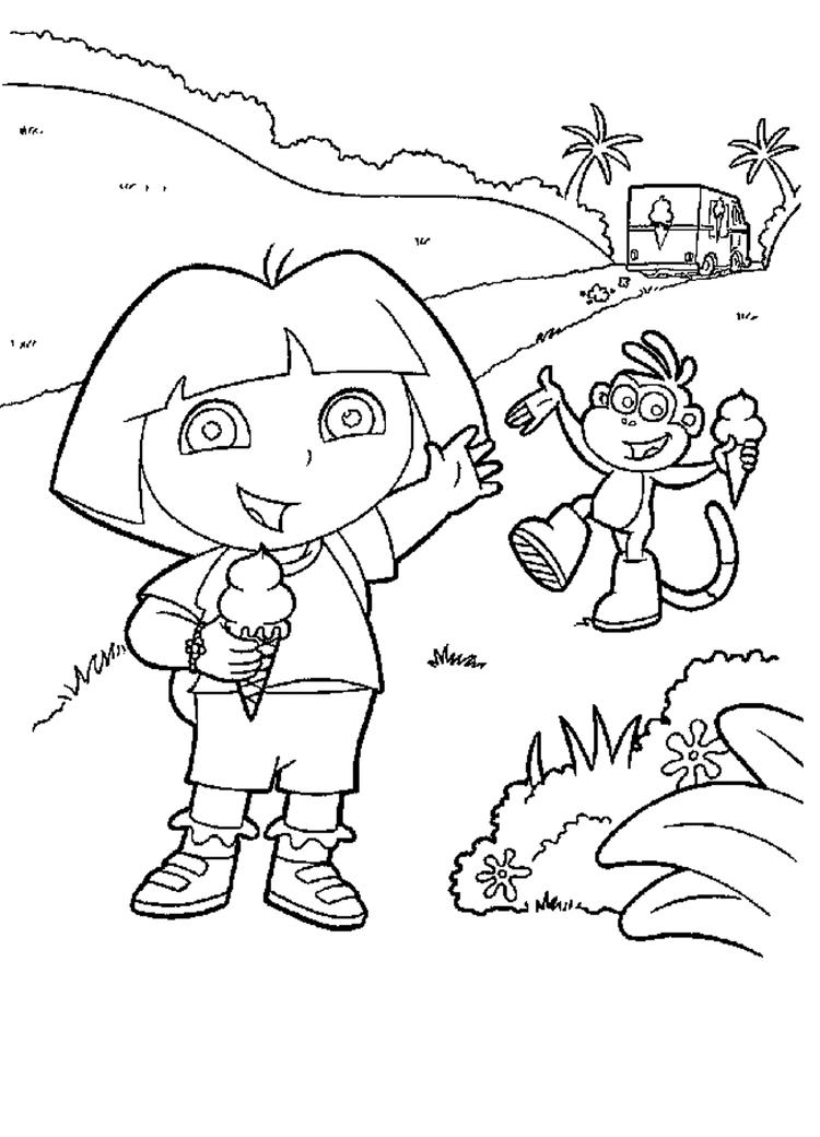 Dora And Boots Enjoying Ice Cream Coloring Pages