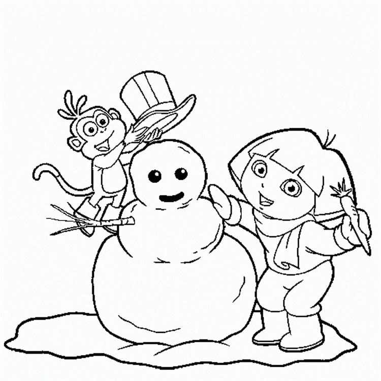Dora And Boots Make Snowman Coloring Pages Winter