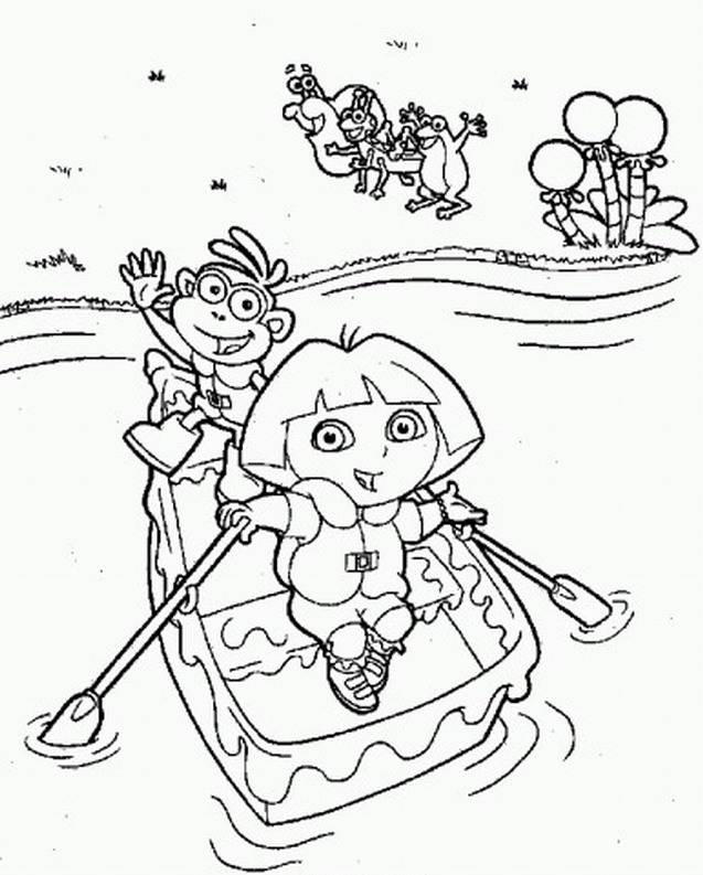 Dora And The Best Friend Monkey Cross River Coloring Page