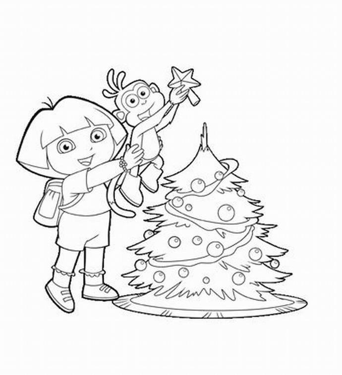 Dora Boots Christmas Tree Coloring Page