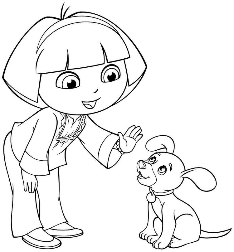 Dora Coloring Pages Dora Puppy