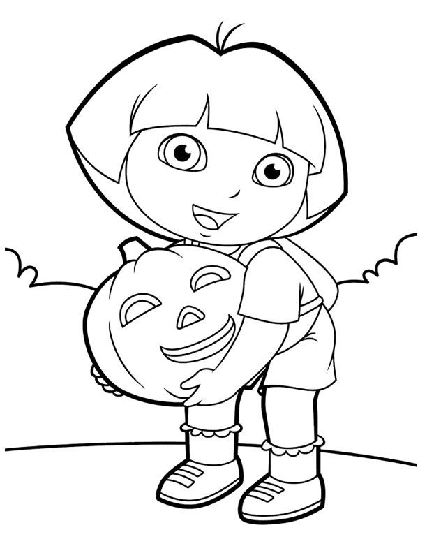 Dora Coloring Pages Halloween Pumpkin