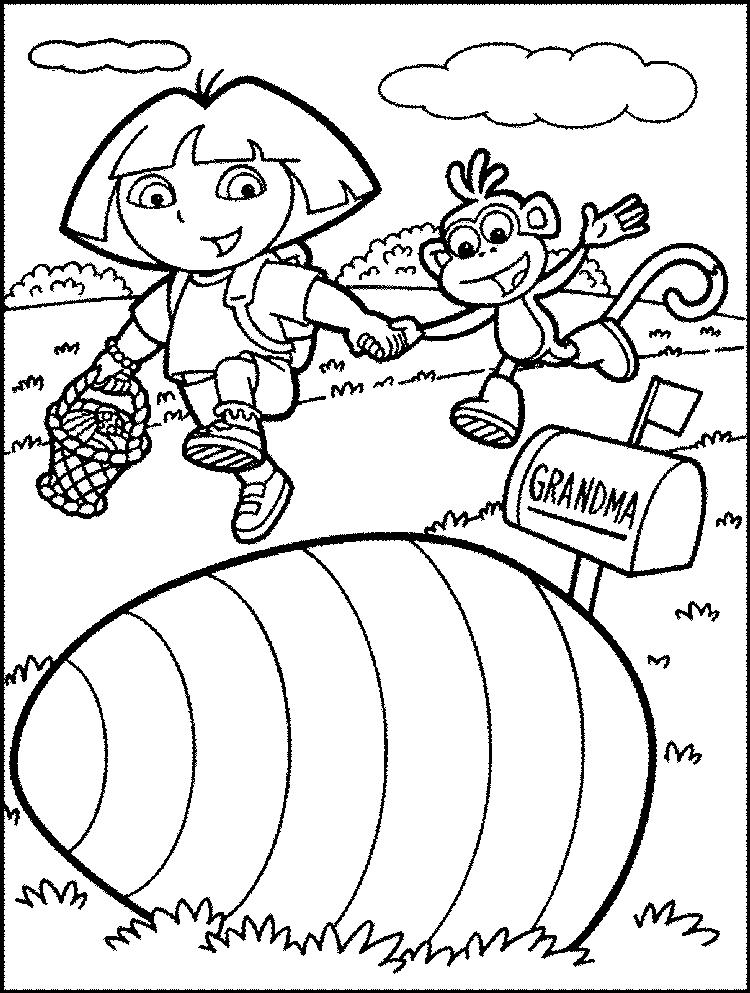 Dora Coloring Pages Happy Easter