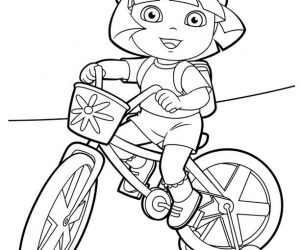 Dora coloring pages riding bicycle
