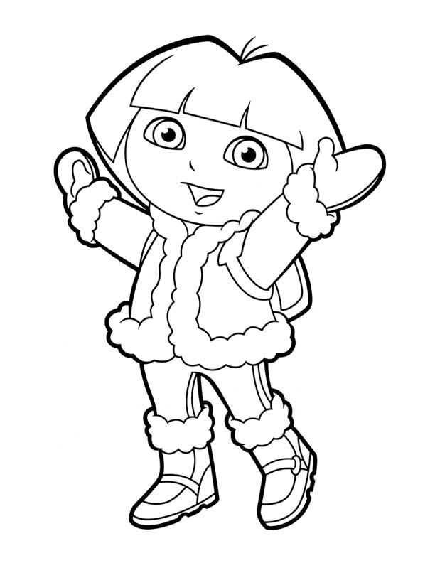 Dora Coloring Pages Winter Clothes