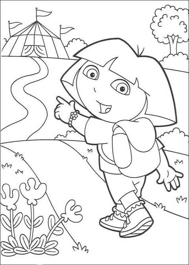 Dora Going To Circus Coloring Page