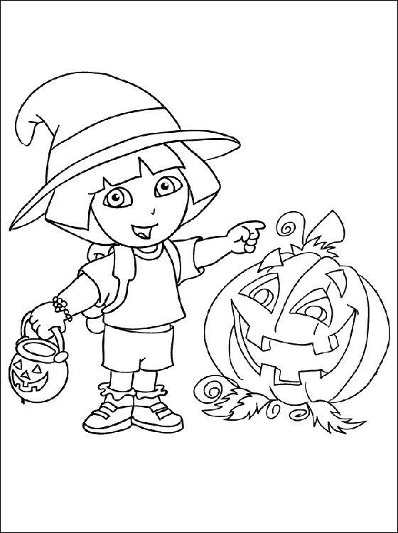 Dora Halloween Coloring Pages For Kids