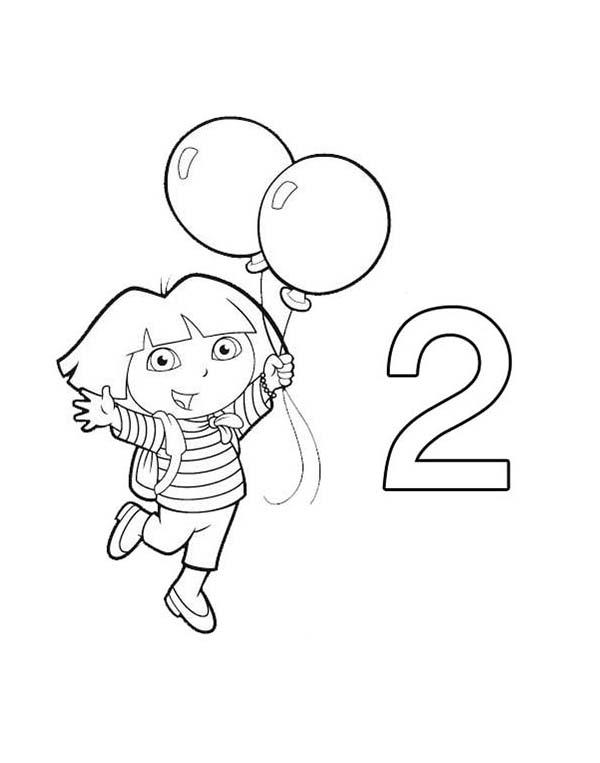 Dora Learn Number 2 With Two Balloons Coloring Page