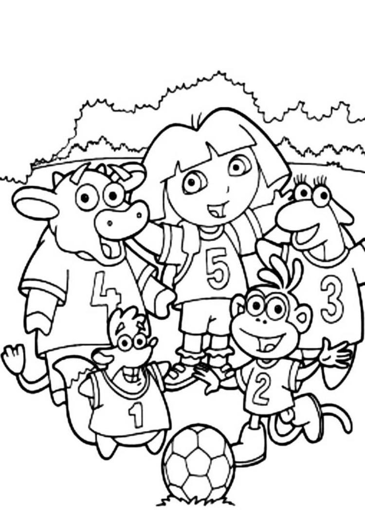 Dora Soccer Team Coloring Pages