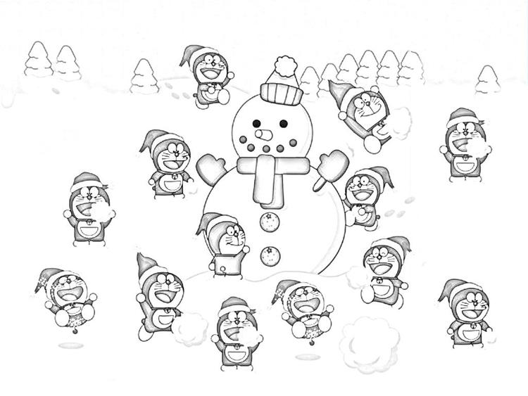 Doraemon And Snowman Coloring Pages To Print