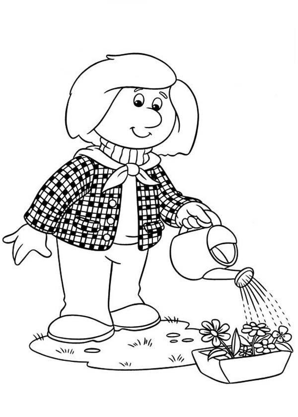 Dorothy Thompson Watering Her Plant In Postman Pat Coloring Pages