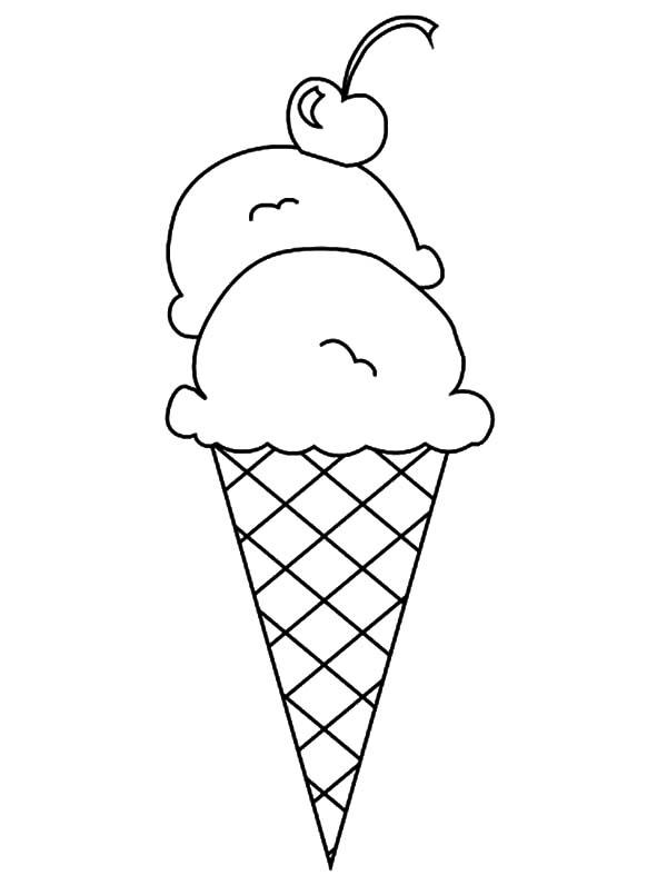 Double Scoop Ice Cream Cone Coloring Pages