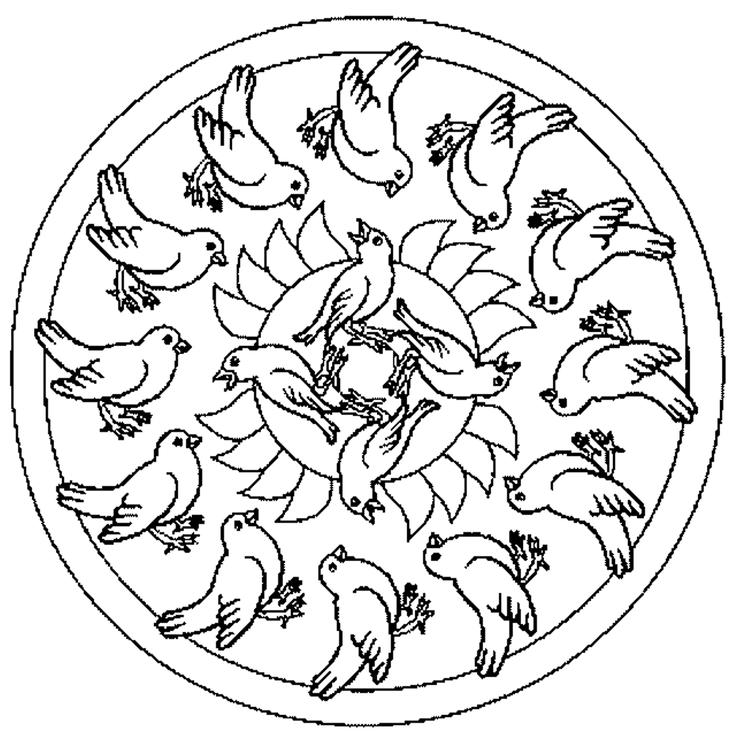 Dove Mandala Coloring Pages