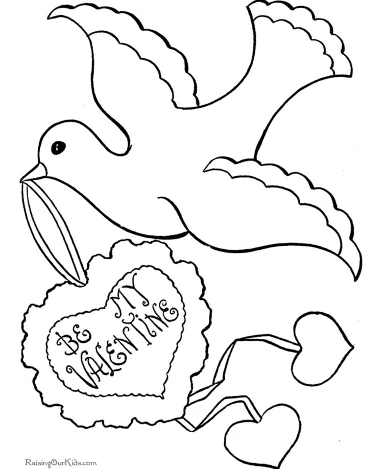 Dove Valentine Coloring Pages