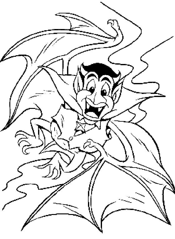 Dracula As Bat Halloween Coloring Pages