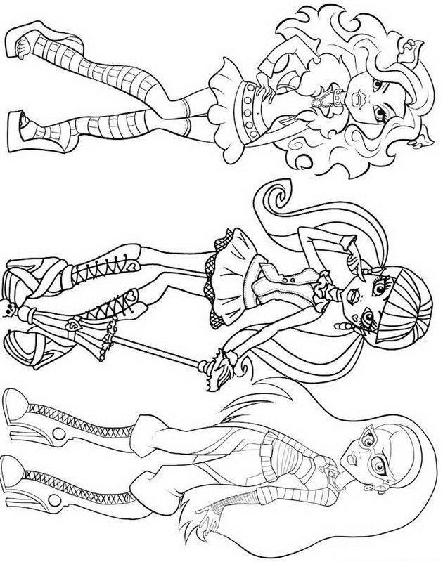 Draculaura Clawdeen Wolf Ghoulia Yelps Monster High Coloring Page