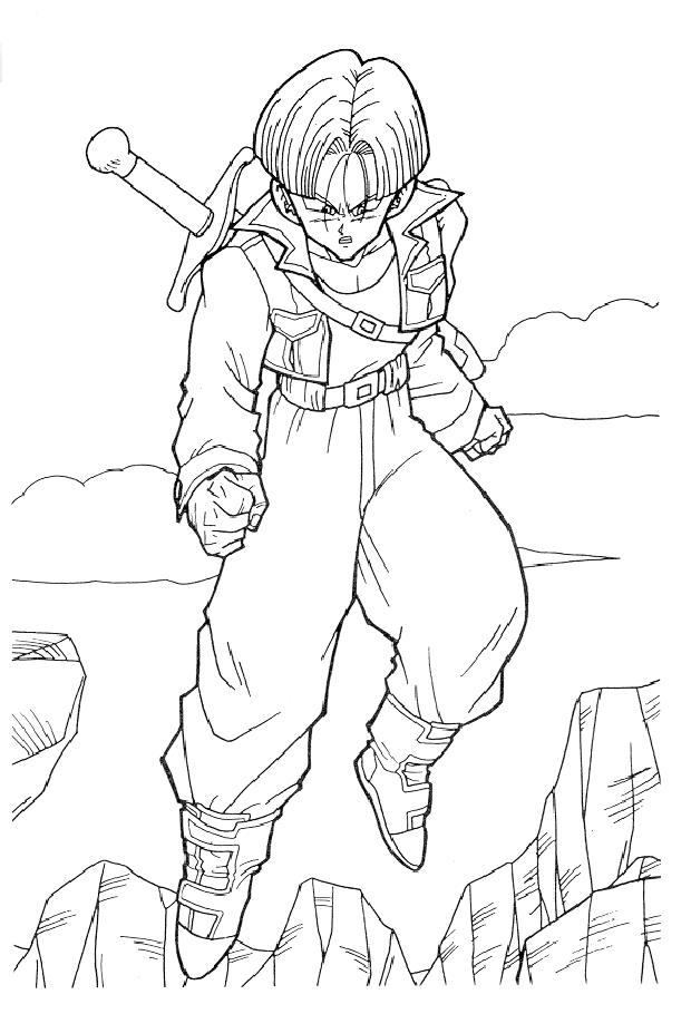 Dragon Ball Z Coloring Pages Trunks Flying