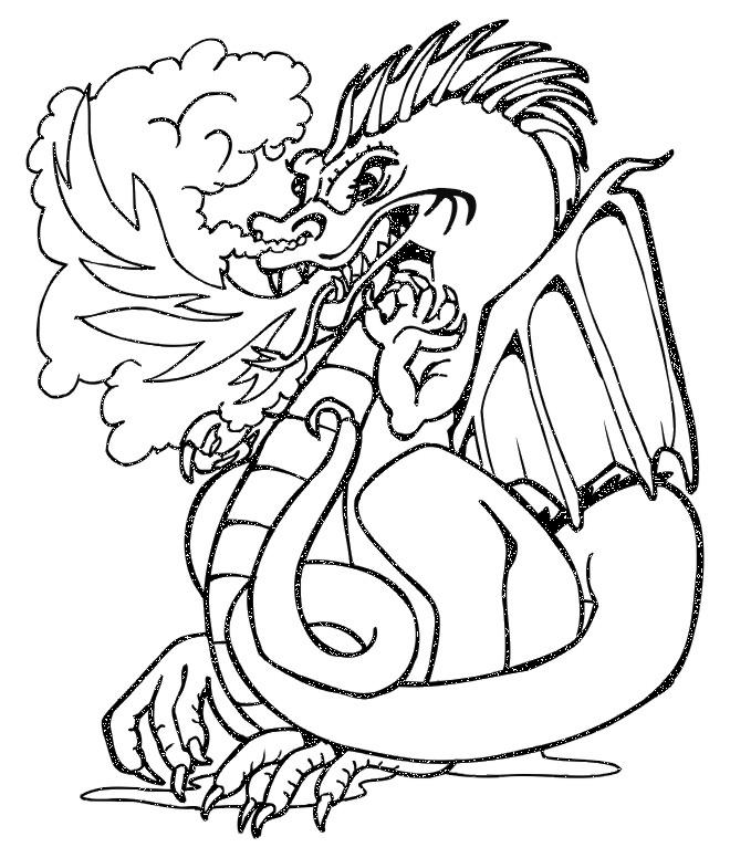 Dragon Coloring Pages Breathing Fire For Kids