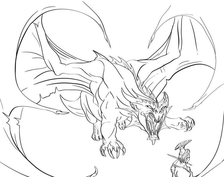 Dragon Coloring Pages Vs Knight