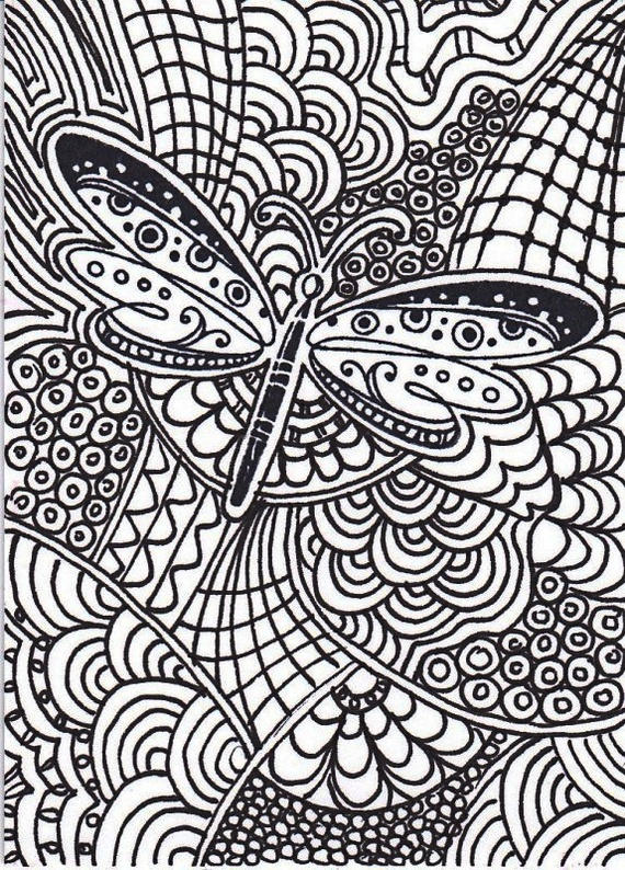 Dragonfly Intricate Pattern Coloring Picture