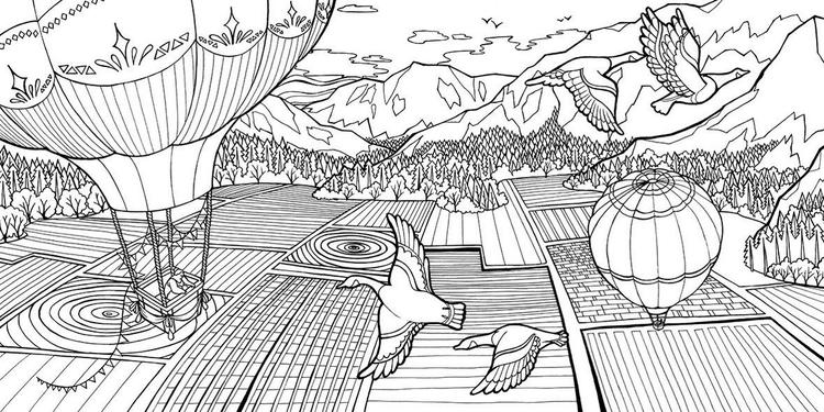 Dream Weaver Field And Hot Balloon Air Coloring Book Olivia Whitworth