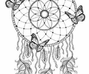 Dreamcatcher butterfly coloring pages