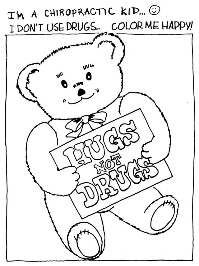 Drug Free In Teddy Bear Theme Coloring Page