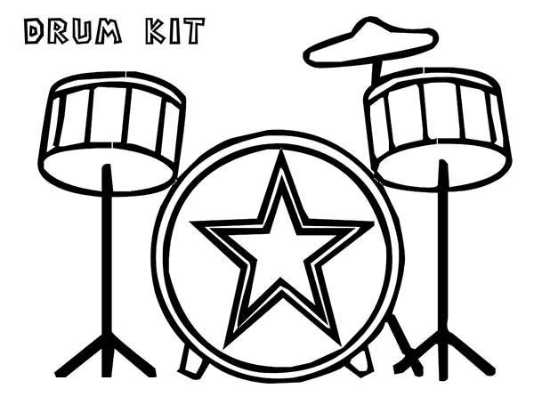 Drum Kit Is A Musical Instruments Coloring Pages