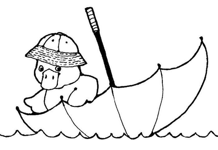 Duck With Umbrella Coloring Pages