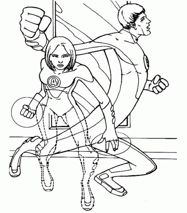Duet Of Mister Fantastic And Invisible Girl In Fantastic Four Coloring Pages