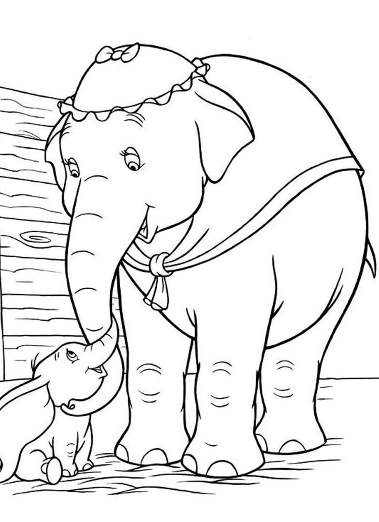 Dumbo Free Printable Cartoon Coloring Pages